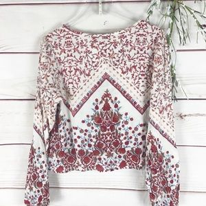 Patrons of Peace Tops - Patrons of Peace Floral Boho Cropped Peasant Top